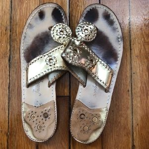 Jack Rogers Hampton Flat Gold Sandals